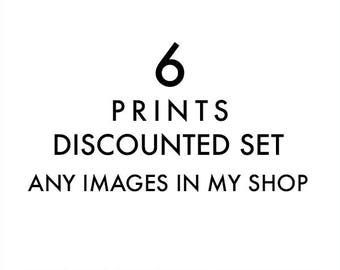 set of 6 fine art prints, any images in my shop printed, discounted set, 12x12 5x5, 11x14, photography prints, nursery wall art, your choice