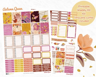 Fall Planner Stickers, Printable, weekly kit, Autumn stickers, glam, use with Erin Condren, Fashion, Silhouette cut files, floral, pumpkin