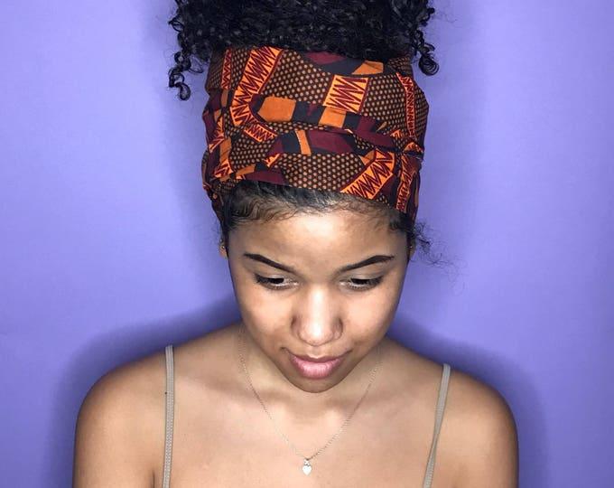 Red, Orange and Black Kuchena Half Head Wrap
