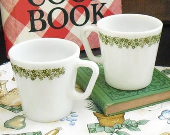 6 Vintage Spring Blossom Pyrex Mugs, 8 Ounce, Crazy Daisy Cups, Everyday Tableware, Corning, Corelle, Green and White Flowers, Mod, Retro