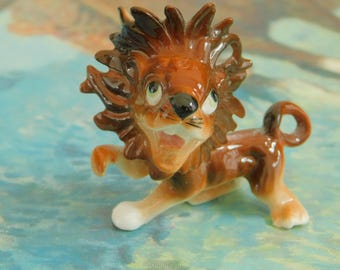 Vintage Lion Figurine, Big Cat, Bookshelf Display, Zoo Animal, Gift for Cat Lover, Dollhouse, Diorama Animal, Collectible Standing Lion