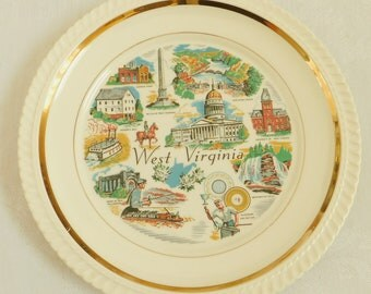 Vintage West Virginia State Souvenir Travel Plate with Gold Trim, Capitol, Harpers Ferry, Battle of Point Pleasant, House of Coal Williamson