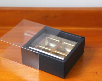 5 Black chocolate box, chocolate boxes, clear chocolate box, insert chocolate box, candy box, gift box, chocolate gift box, chocolate favor