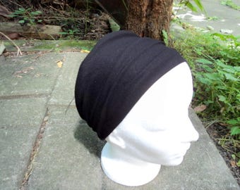 Extra wide black headband. Yoga, workout. Extra wide stretch headband. Hair. Aceesoire fashion girl or woman.