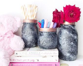 Marble Mason Jar, monochrome nursery, Makeup brush holder, Black Marble, desk accessories, rose gold makeup storage, marble vase, ball jar