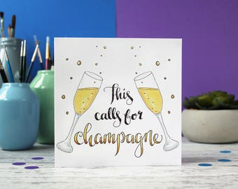 Champagne card, celebration card, wedding card, blank card, birthday card, congratulations