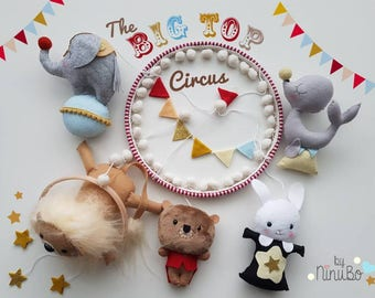 Circus Baby Mobile - Felt Mobile - Crib Mobile - Cot Mobile - Circus Animals - Hanging Mobile