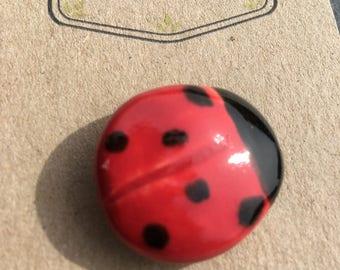 Ceramic brooch ladybird handmade gift
