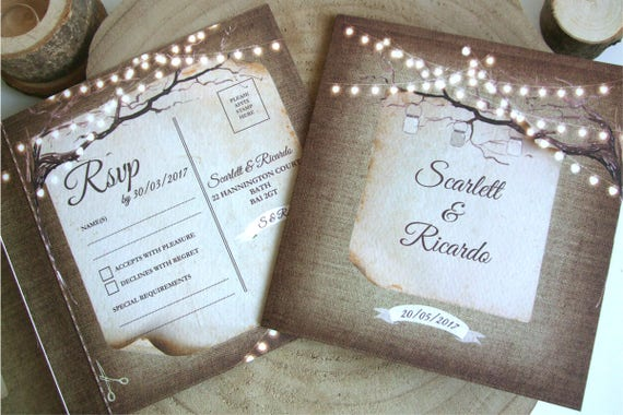 Rustic Wedding Invitation - Fairy Lights