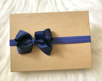 Navy Bow Headband, Navy Blue Headband, Baby Headband, Baby Girl Headband, Infant Headband, Newborn Headband, Navy Blue Hair Bow, Baby Girl