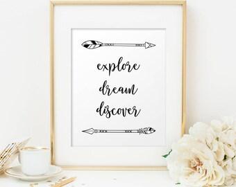 explore Dream Discover, Travel quote Print, Travel poster, Mark Twain quote, Wanderlust, Adventure Printable, Arrow art, motivational print