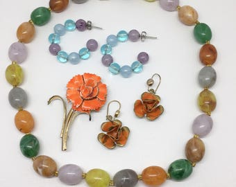 ORANGE Jewelry Set Vintage Bead Necklace Coro Style Brooch Dangle Earrings 60's Style Jewelry Bright Colored