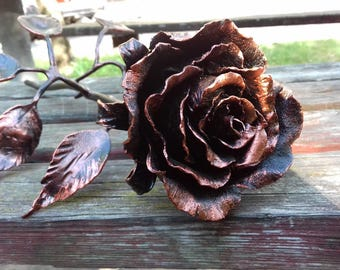 7th anniversary gift, 7th  wedding gift, 7th wedding, Steel rose, Steel, Forged, Copper Rose, wrought  iron, Iron Rose, Metal  flowers