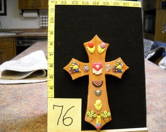 Wooden Cross, Item #76 with Vintage Buttons