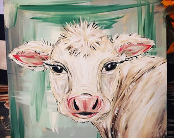 Abstract white cow painting