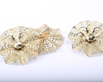 Emmons Gold Tone Brooch and Earring Set