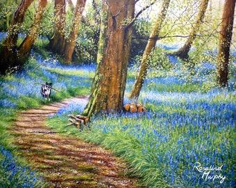 Through the Bluebells (print of original acrylic painting)