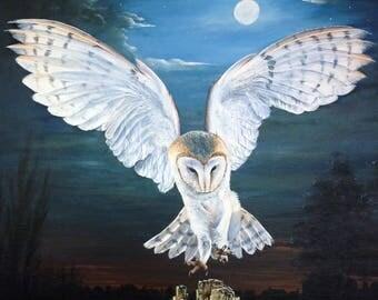 Night Landing (print of original acrylic painting)