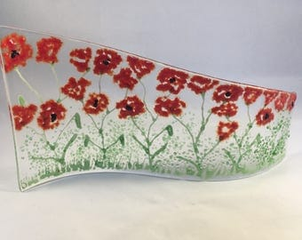 Floral Glass S Curved Plaque, Candle Display with poppies,  Fused Glass, Kiln Formed Glass, Home Decor, Gift for her, Birthday Gift