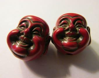 """Red Chinese Happy Buddha Beads, 3/4"""", Set of 2"""