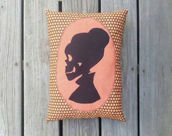 All Hallows Eve Lady Skeleton Silhouette Decorative Halloween Throw Pillow