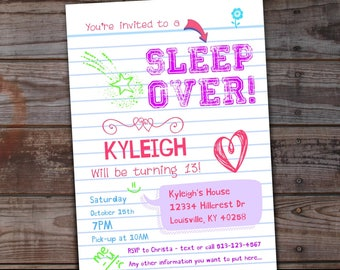 Sleepover Invitation, Sleepover Birthday Invitations, Tween Girls - Sleep Over Party - Slumber Party Invitation - Teen Invitation