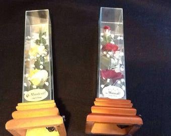 Vintage SilK Flower music box.Has wooden base 25.00 each