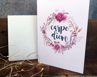 Carpe diem, seize the day, inspirational card, greeting card