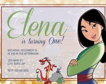 DIGITAL* Mulan Birthday Party Invitation