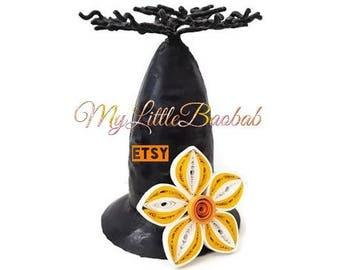 Magnet Quilling white plumeria flower yellow Orange