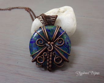 Necklace wire wrapped in antiqued copper wire and malachite and lapis lazuli donut