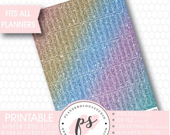 Rainbow Ombre Glitter Blank Header Printable Planner Stickers | JPG/PNG/Silhouette Cut Files
