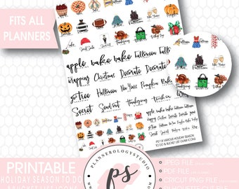 Holiday Season (Christmas, Halloween, Thanksgiving) To Do & Bucket List Icons Printable Planner Stickers | JPG/PDF/Silhouette Compatible Cut