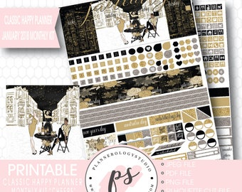 Cheers New Year's January 2018 Monthly View Kit Printable Planner Stickers (for Classic Happy Planner) | JPG/PDF/Silhouette Cut File
