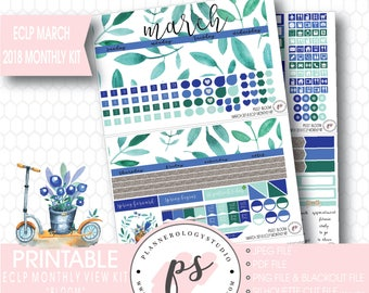Bloom March 2018 Monthly View Kit Digital Printable Planner Stickers (for Erin Condren)|JPG/PDF/Silhouette Cut File/Blackout File