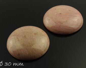 1 PCs gemstone cabochon, rose spat, Ø 30 mm