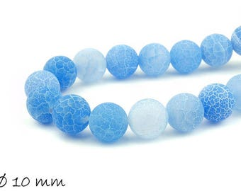 10 pcs matte cracked agate beads, 10 mm, blue