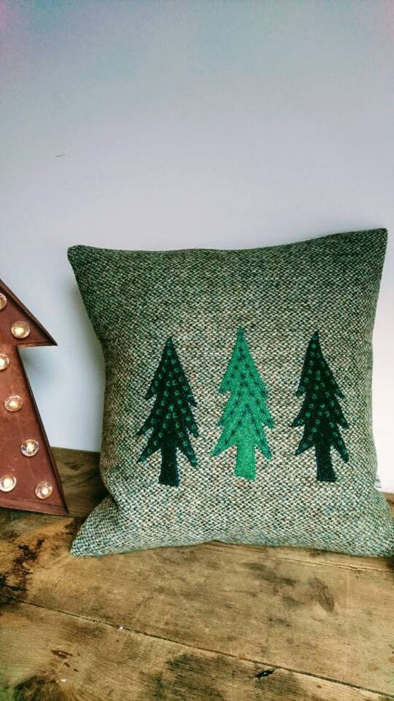 SALE Hand Crafted Harris Tweed Christmas tree cushion cover