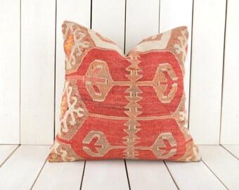 16x16 Decorative Kilim Pillow, Handmade Kilim Pillow, Vintage Kilim Pillow, Kilim Pillow Cover, Turkish Kilim Pillow, Kilim Cushion Cover