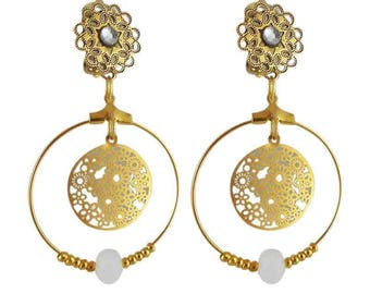 Earring creole clip Golden (Made in France)