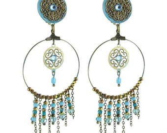 """Earring clip turquoise """"Dream"""" (made in France)"""