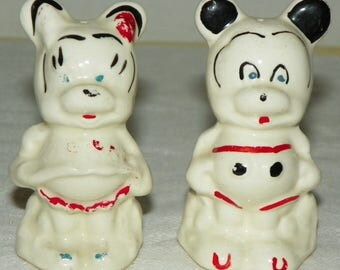 Vintage Mickey Mouse and Minnie Mouse Salt and Pepper Shakers by American Bisque