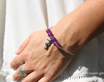 Amethyst semi precious stone bracelet charm seahorse ValentinSaint Saint Valentine's day gift, mother of grand mothers, Easter