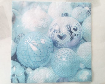 set of 2 paper napkins blue and silver Christmas balls