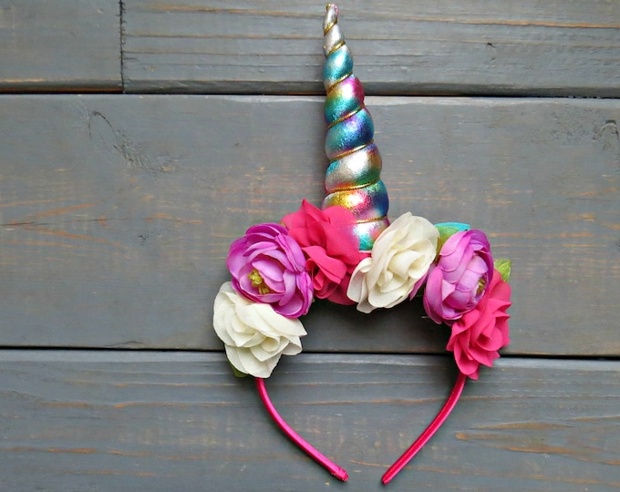 Pink Floral Unicorn Headband, Unicorn Crown, Unicorn Birthday Party, Rainbow Unicorn, Baby's First Birthday, Gifts For Girls