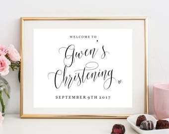 Personalised Christening Welcome Sign, Christening Sign, Welcome sign, Customised, Calligraphy, Baptism Sign, Blessing, Christening decor