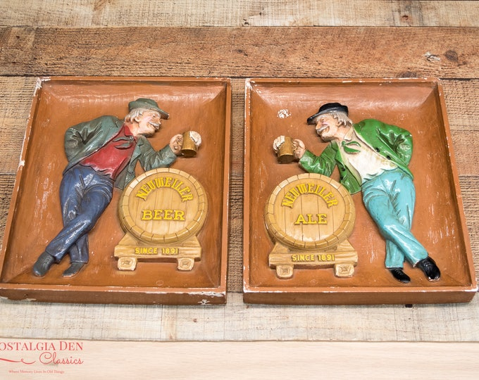 Vintage Louis F Neuweiler Beer And Ale | Chalkware Relief Wall Plaques | Breweriana