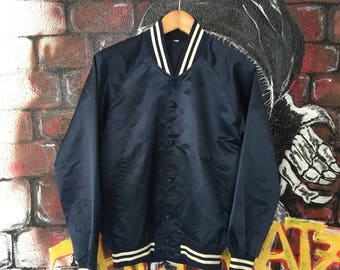 Vintage Plain Stadium Jumper Varsity Jacket