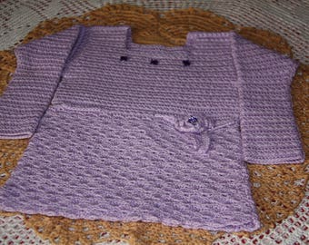 Winter dress baby 9 / 12 months purple crocheted hand