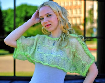 Lime green wool bolero Handmade light green lace shrug Transparent  knitted shrug poncho